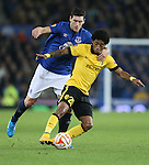 Gareth Barry of Everton challenges Ryan Mendes of Lille - UEFA Europa League - Everton vs  Lille - Goodison Park Stadium - Liverpool - England - 6th November 2014 - Pic Simon Bellis/Sportimage