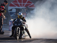Oct 29, 2016; Las Vegas, NV, USA; NHRA pro stock motorcycle rider Angelle Sampey during qualifying for the Toyota Nationals at The Strip at Las Vegas Motor Speedway. Mandatory Credit: Mark J. Rebilas-USA TODAY Sports