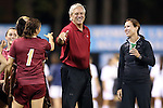 04 October 2012: Boston College head coach Alison Foley (right) watches assistant coach Mike LaVigne (center) and Victoria DiMartino (1). The University of North Carolina Tar Heels defeated the Boston College Eagles 1-0 at Fetzer Field in Chapel Hill, North Carolina in a 2012 NCAA Division I Women's Soccer game.