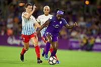 Orlando, FL - Saturday August 05, 2017: Taylor Comeau, Jasmyne Spencer during a regular season National Women's Soccer League (NWSL) match between the Orlando Pride and the Chicago Red Stars at Orlando City Stadium.
