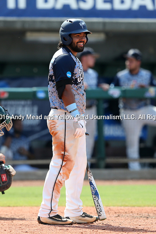 02 June 2016: Nova Southeastern's Andres Visbal. The Nova Southeastern University Sharks played the Cal Poly Pomona Broncos in Game 11 of the 2016 NCAA Division II College World Series  at Coleman Field at the USA Baseball National Training Complex in Cary, North Carolina. Nova Southeastern won the semifinal game 4-1 and advanced to the championship series.