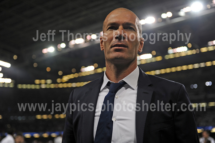 Real Madrid coach Zinedine Zidane<br /> <br /> <br /> Jeff Thomas Photography<br /> www.jaypics.photoshelter.com<br /> e-mail swansea1001@hotmail.co.uk<br /> Mob: 07837 386244<br /> <br /> Supporters of Juventus and Real Madrid enjoying the atmosphere at the National Stadium of Wales before the UEFA Champions League Final on Saturday 3rd June 2017