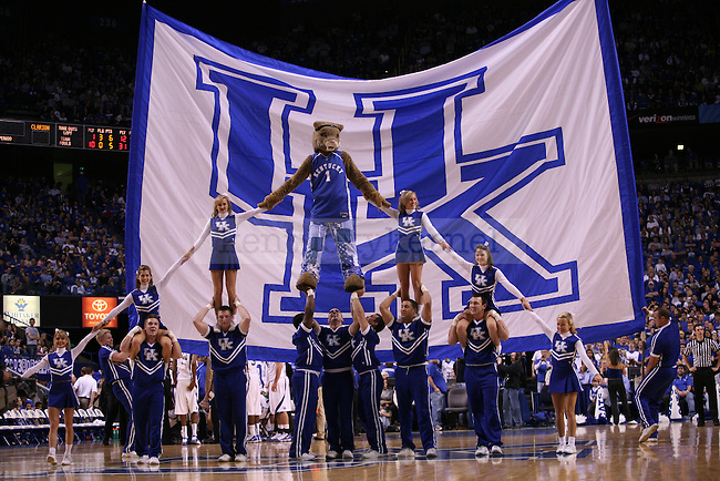 The UK cheerleaders make a pyramid during a time-out during the men's basketball game against Clarion at Rupp Arena on Friday, Nov. 6, 2009. The Wildcats won 117-52 over the Golden Eagles. Photo by Adam Wolffbrandt | Staff