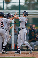 Detroit Tigers designated hitter Parker Meadows (17) is congratulated by teammates Jacob Robson (74) and Kody Clemens (19) after hitting a home run during a Florida Instructional League game against the Pittsburgh Pirates on October 2, 2018 at the Pirate City in Bradenton, Florida.  (Mike Janes/Four Seam Images)