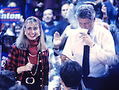 "Governor Bill Clinton (Democrat of Arkansas), right, and his wife, Hillary Rodham Clinton, left, at a campaign rally at Fairgrounds Junior High School in Nashua, New Hampshire on February 16, 1992.  The Clintons were campaigning in advance of New Hampshire's ""First in the Nation"" presidential primary.<br /> Credit: Ron Sachs / CNP"