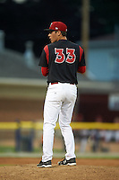 Batavia Muckdogs pitcher LJ Brewster (33) gets ready to deliver a pitch during a game against the Mahoning Valley Scrappers on June 22, 2015 at Dwyer Stadium in Batavia, New York.  Mahoning Valley defeated Batavia 15-11.  (Mike Janes/Four Seam Images)