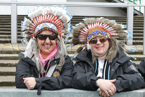 06.03.2016. Welford Road, Leicester, England. Aviva Premiership. Leicester Tigers versus Exeter Chiefs.  Exeter fans gather at Welford Road ahead on the match