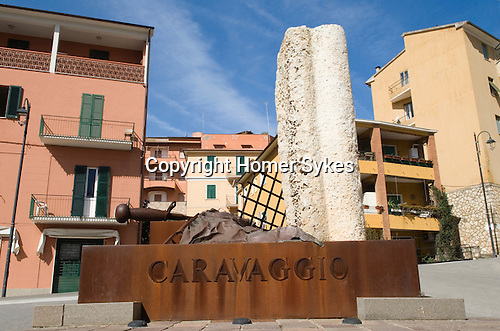 Porto Ercole, Monte Argentario, Grosseto province. Tuscany. Italy. Monument to Caravaggio, this is the town where he died on the run from authority.