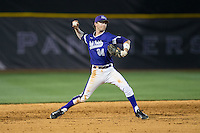 High Point Panthers shortstop Conner Dunbar (24) makes a throw to first base against the NJIT Highlanders during game two of a double-header at Williard Stadium on February 18, 2017 in High Point, North Carolina.  The Highlanders defeated the Panthers 4-2.  (Brian Westerholt/Four Seam Images)