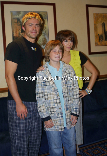 OLTL's John-Paul Lavoisier & Farah Fath & Austin Williams at the One Life To Live Fan Club Luncheon on August 16, 2008 at the New York Marriott Marquis, New York, New York.  (Photo by Sue Coflin/Max Photos)