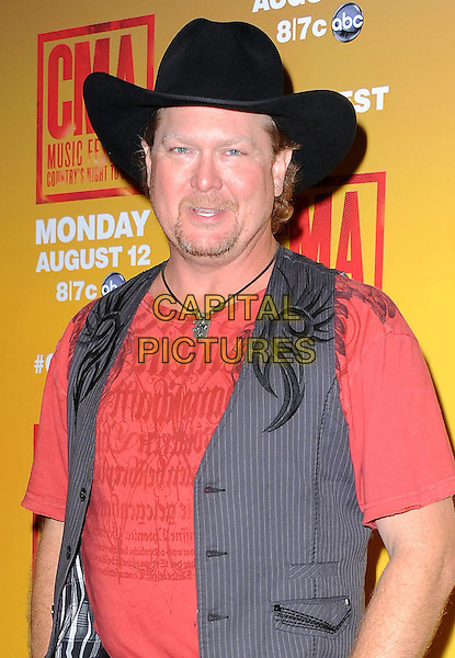 Tracy Lawrence<br /> 2013 CMA Music Festival Nightly Press Conference held at LP Field, Nashville, Tennessee, USA, 6th June 2013.<br /> country music half length cowboy hat red t-shirt grey gray waistcoat <br /> CAP/ADM/RP<br /> &copy;Ryan Pavlov/AdMedia/Capital Pictures