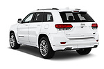 Car pictures of rear three quarter view of a 2018 Jeep Grand-Cherokee Summit 5 Door SUV angular rear