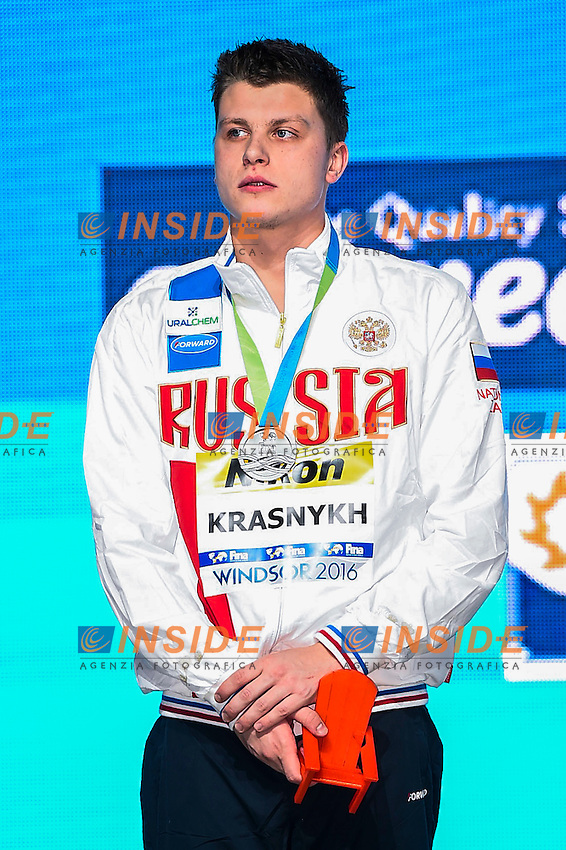 KRASNYKH Aleksandr RUS Silver Medal<br /> Men's Freestyle 400m<br /> 13th Fina World Swimming Championships 25m <br /> Windsor  Dec. 6th, 2016 - Day01 Finals<br /> WFCU Centre - Windsor Ontario Canada CAN <br /> 20161206 WFCU Centre - Windsor Ontario Canada CAN <br /> Photo &copy; Giorgio Scala/Deepbluemedia/Insidefoto