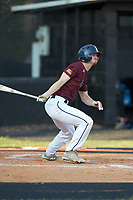 Luke Nelson of Kannapolis Post 115 follows through on his swing against Mooresville Post 66 during an American Legion baseball game at Northwest Cabarrus High School on May 30, 2019 in Concord, North Carolina. Mooresville Post 66 defeated Kannapolis Post 115 4-3. (Brian Westerholt/Four Seam Images)