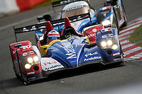 The Oreca AIM #10 LMP1, Stéphane Ortelli-Bruno Senna, Team Oreca Matmut AIM, just in front of the Peugeot 908 Hdi FAP #9 LMP1, Marc Gene-Alexander Wurz-David Brabham, Team Peugeot Total, in the last part of the race, Sunday, May 10, 2009, in Spa-Francorchamps, Belgium (Valentin Bianchi/pressphotointl.com)