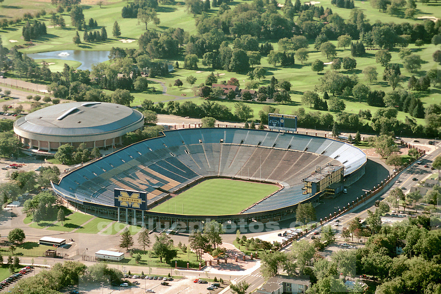October 2000. Empty Michigan Stadium aerial