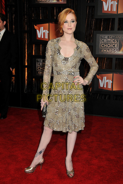 EVAN RACHEL WOOD.14th Annual Critics Choice Awards at the Santa Monica Civic Auditorium, Santa Monica, California, USA..January 8th, 2009.full length brown beige gold silver beads beaded jewel encrusted dress hand on hip clutch bag tattoo.CAP/ADM/BP.©Byron Purvis/AdMedia/Capital Pictures.