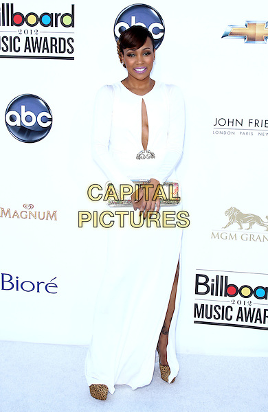 Monica.2012 Billboard Music Awards arrivals at the MGM Grand Garden Arena Las Vegas, Las Vegas, Nevada, USA..May 20th, 2012.full length white dress cut out away silver clutch bag slit split .CAP/ADM/MJT.© MJT/AdMedia/Capital Pictures.