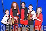 Rian O'Donovan, Tiarna Sheahan, Amy Morris, Keith Sheahan and Eimear Burke (all from Glenbeigh) represented Glenbeigh/Glencar Instrumental Music at the Mid Kerry Scór na bPaistí Final in the CYMS Killorglin last Friday night.