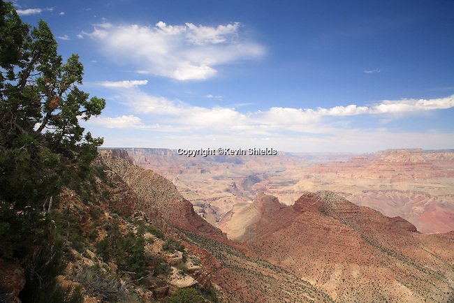View of the Grand Canyon from the South Rim at the Watchtower, Grand Canyon National Park, Arizona, USA