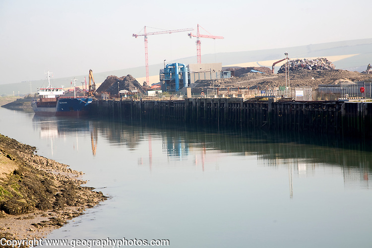 Scrap metal ship, Newhaven, East Sussex, England