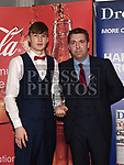 Barry Carter presents the April award to Gavin Rafferty at the Drogheda Independent Sports Star Awards in the Westcourt Hotel.  Photo:Colin Bell/pressphotos.ie