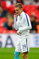 Jamie Vardy (Leicester City) of England warming up ahead of the FIFA World Cup qualifying match between England and Malta at Wembley Stadium, London, England on 8 October 2016. Photo by David Horn / PRiME Media Images.