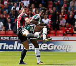 Jake Wright of Sheffield Utd  tussles with Ike Ugbo of Barnsley during the Championship League match at Bramall Lane Stadium, Sheffield. Picture date 19th August 2017. Picture credit should read: Simon Bellis/Sportimage