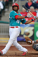 Xavier Scruggs (15) of the Springfield Cardinals swings against the Corpus Christi Hooks at Hammons Field on August 19, 2012 in Springfield, Missouri.(Dennis Hubbard/Four Seam Images)