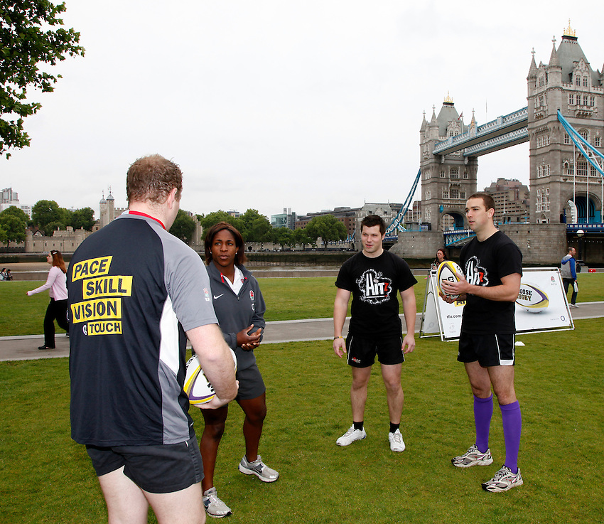 Photo: Richard Lane/Richard Lane Photography. O2 Touch Launch, an RFU initiative aiming to get England playing touch rugby at Potters Field, London. 17/06/2011. England player, Maggie Alphonsi talks to participants.