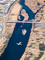 Lockheed P3 Orion flying along Sagami river in Japan.
