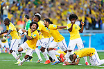 Brazil team group (BRA),<br /> JUNE 28, 2014 - Football / Soccer :<br /> Brazil team group celebrate after winning the penalty shoot out during the FIFA World Cup Brazil 2014 Round of 16 match between Brazil 1(3-2)1 Chile at Estadio Mineirao in Belo Horizonte, Brazil. (Photo by D.Nakashima/AFLO)