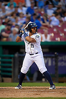 Kane County Cougars third baseman Eudy Ramos (19) at bat during a game against the West Michigan Whitecaps on July 19, 2018 at Northwestern Medicine Field in Geneva, Illinois.  Kane County defeated West Michigan 8-5.  (Mike Janes/Four Seam Images)