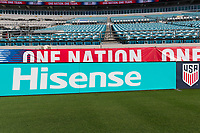 Jacksonville, FL - Thursday, April 05, 2018: Hisense field board prior to a friendly match between USA and Mexico at EverBank Stadium.