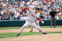 July 23, 2008:  Boston Red Sox reliever Hideki Okajima toes the rubber against the Seattle Mariners at Safeco Field in Seattle, Washington.