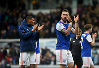 Ipswich Town's Luke Chambers applauds the fans at the final whistle <br /> <br /> Photographer Hannah Fountain/CameraSport<br /> <br /> The EFL Sky Bet Championship - Ipswich Town v Nottingham Forest - Saturday 16th March 2019 - Portman Road - Ipswich<br /> <br /> World Copyright &copy; 2019 CameraSport. All rights reserved. 43 Linden Ave. Countesthorpe. Leicester. England. LE8 5PG - Tel: +44 (0) 116 277 4147 - admin@camerasport.com - www.camerasport.com