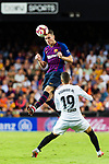 Thomas Vermaelen of FC Barcelona (L) heads the ball during their La Liga 2018-19 match between Valencia CF and FC Barcelona at Estadio de Mestalla on October 07 2018 in Valencia, Spain. Photo by Maria Jose Segovia Carmona / Power Sport Images