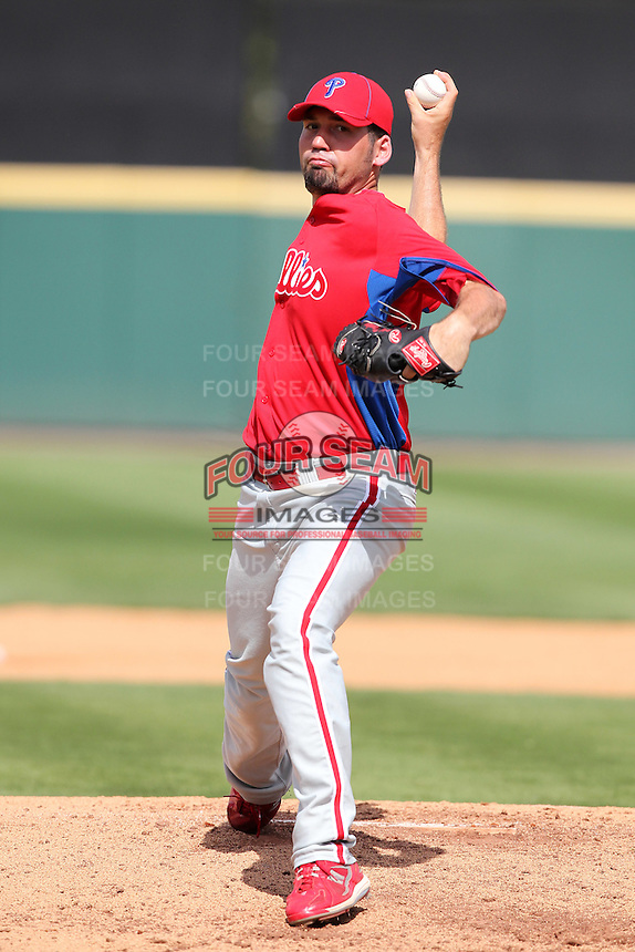 Philadelphia Phillies David Herndon #57 during a spring training game against the Baltimore Orioles at Bright House Field in Clearwater, Florida;  March 6, 2011.  Photo By Mike Janes/Four Seam Images