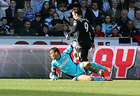 Pictured: (L-R) Michel Vorm, Dimitar Berbatov.<br /> Sunday 19 May 2013<br /> Re: Barclay's Premier League, Swansea City FC v Fulham at the Liberty Stadium, south Wales.