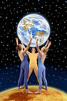 Digital illustration; modern dancers on the moon, holding the Earth.