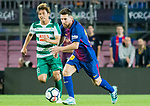 Lionel Andres Messi of FC Barcelona (R) fights for the ball with Takashi Inui of SD Eibar (L) during the La Liga 2017-18 match between FC Barcelona and SD Eibar at Camp Nou on 19 September 2017 in Barcelona, Spain. Photo by Vicens Gimenez / Power Sport Images
