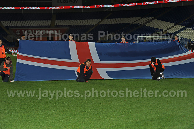 The National flag of Iceland. Cardiff City Stadium, Cardiff, Wales, Wednesday 5th March 2014. The Football Association of Wales - Vauxhall International Friendly - Wales v Iceland. Pictures by Jeff Thomas Photography - www.jaypics.photoshelter.com - Contact: thomastwotimes@live.co.uk - 07837 386244