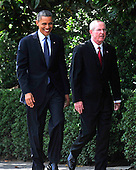 United States President Barack Obama, left, and Head Coach Tom Coughlin arrive for the ceremony where the President welcomed the Super Bowl Champion New York Giants to the White House in Washington, D.C. on Friday, June 8, 2012..Credit: Ron Sachs / CNP.(RESTRICTION: NO New York or New Jersey Newspapers or newspapers within a 75 mile radius of New York City)