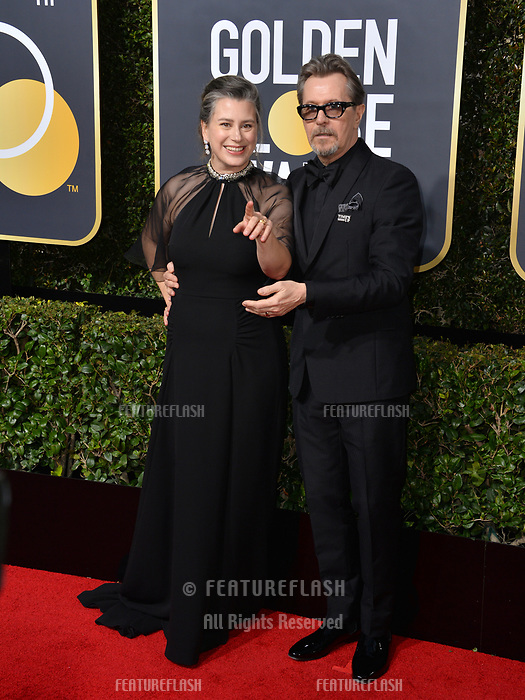 Gary Oldman &amp; Gisele Schmidt at the 75th Annual Golden Globe Awards at the Beverly Hilton Hotel, Beverly Hills, USA 07 Jan. 2018<br /> Picture: Paul Smith/Featureflash/SilverHub 0208 004 5359 sales@silverhubmedia.com