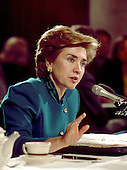 Washington, D.C. - September 29, 1993 -- First lady Hillary Rodham Clinton testifies before the United States Senate Education and Labor Committee on health care reform in Washington, D.C. on September 29, 1993..Credit: Ron Sachs / CNP