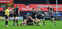 Ospreys' Rhys Webb clears from a ruck.<br /> <br /> Photographer Dan Minto/CameraSport<br /> <br /> Guinness Pro14 Round 13 - Ospreys v Cardiff Blues - Saturday 6th January 2018 - Liberty Stadium - Swansea<br /> <br /> World Copyright &copy; 2018 CameraSport. All rights reserved. 43 Linden Ave. Countesthorpe. Leicester. England. LE8 5PG - Tel: +44 (0) 116 277 4147 - admin@camerasport.com - www.camerasport.com