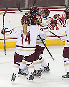 Emily Pfalzer (BC - 14), Melissa Bizzari (BC - 4), Kristyn Capizzano (BC - 7), Emily Field (BC - 15), Andie Anastos (BC - 23) - The Boston College Eagles defeated the Northeastern University Huskies 3-0 on Tuesday, February 11, 2014, to win the 2014 Beanpot championship at Kelley Rink in Conte Forum in Chestnut Hill, Massachusetts.