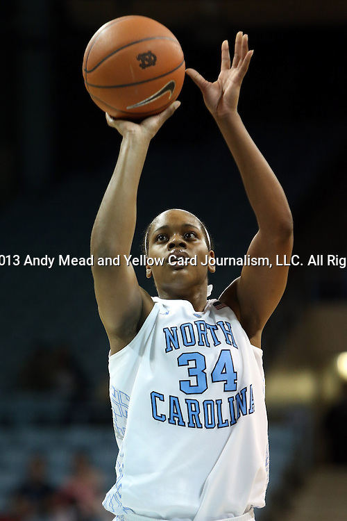 31 January 2013: North Carolina's Xylina McDaniel. The University of North Carolina Tar Heels played the Florida State University Seminoles at Carmichael Arena in Chapel Hill, North Carolina in an NCAA Division I Women's Basketball game. UNC won the game 72-62.
