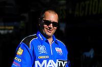 Feb. 17 2012; Chandler, AZ, USA; NHRA top fuel driver Brandon Bernstein interacts with fans at the Arizona Nationals at Firebird International Raceway. Mandatory Credit: Mark J. Rebilas-