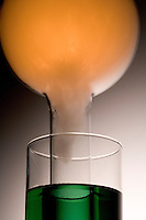 PHOSPHORUS MOON DEMONSTRATION (Close Up)<br /> (1 of 8 - Variations Available).<br /> Combustion of Red Phosphorus in An O2 Atmosphere<br /> Red phosphorus in a deflagrating spoon  is lit and put into the oxygen filled  round bottom flask which has been modified to extend into the beaker of water with universal indicator. The green color shows the pH to be 7.